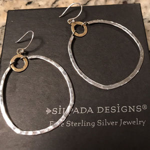 Silpada Dynamic Duo Brass Sterling Silvr Earrings